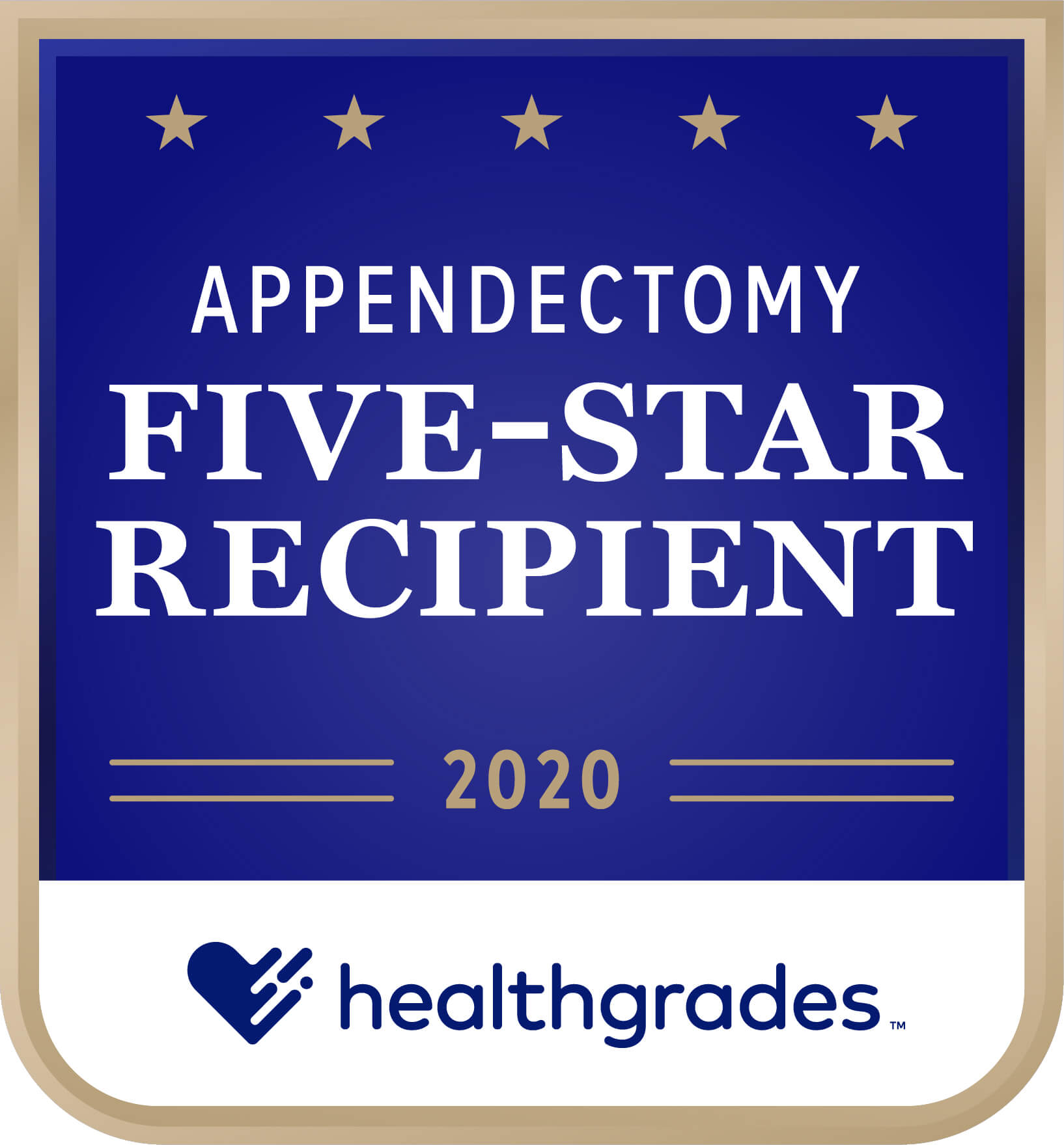Healthgrades Five-Star Recipient for Appendectomy Award 2020