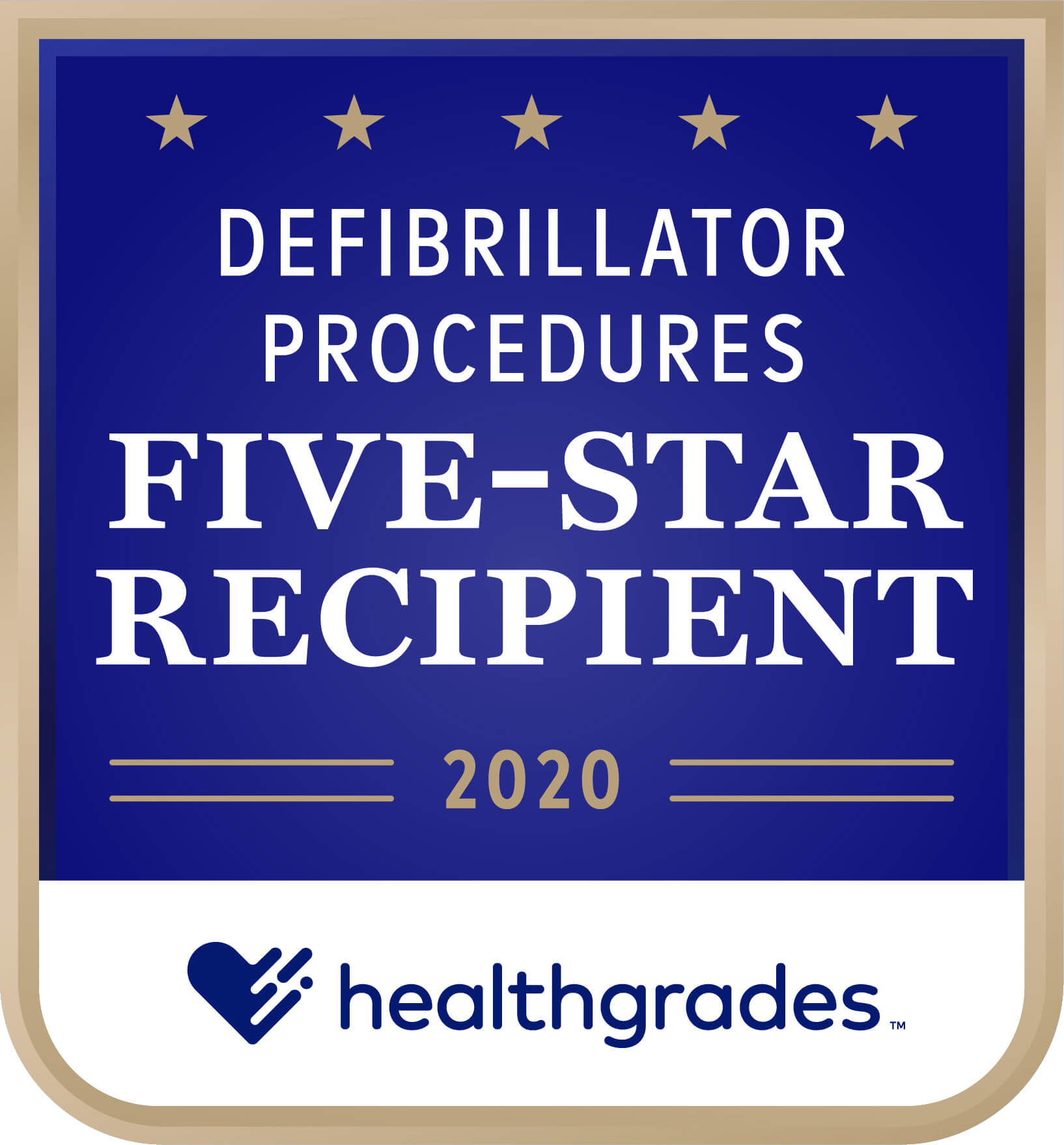 Healthgrades Five-Star Recipient for Defibrillator Procedures Award 2020