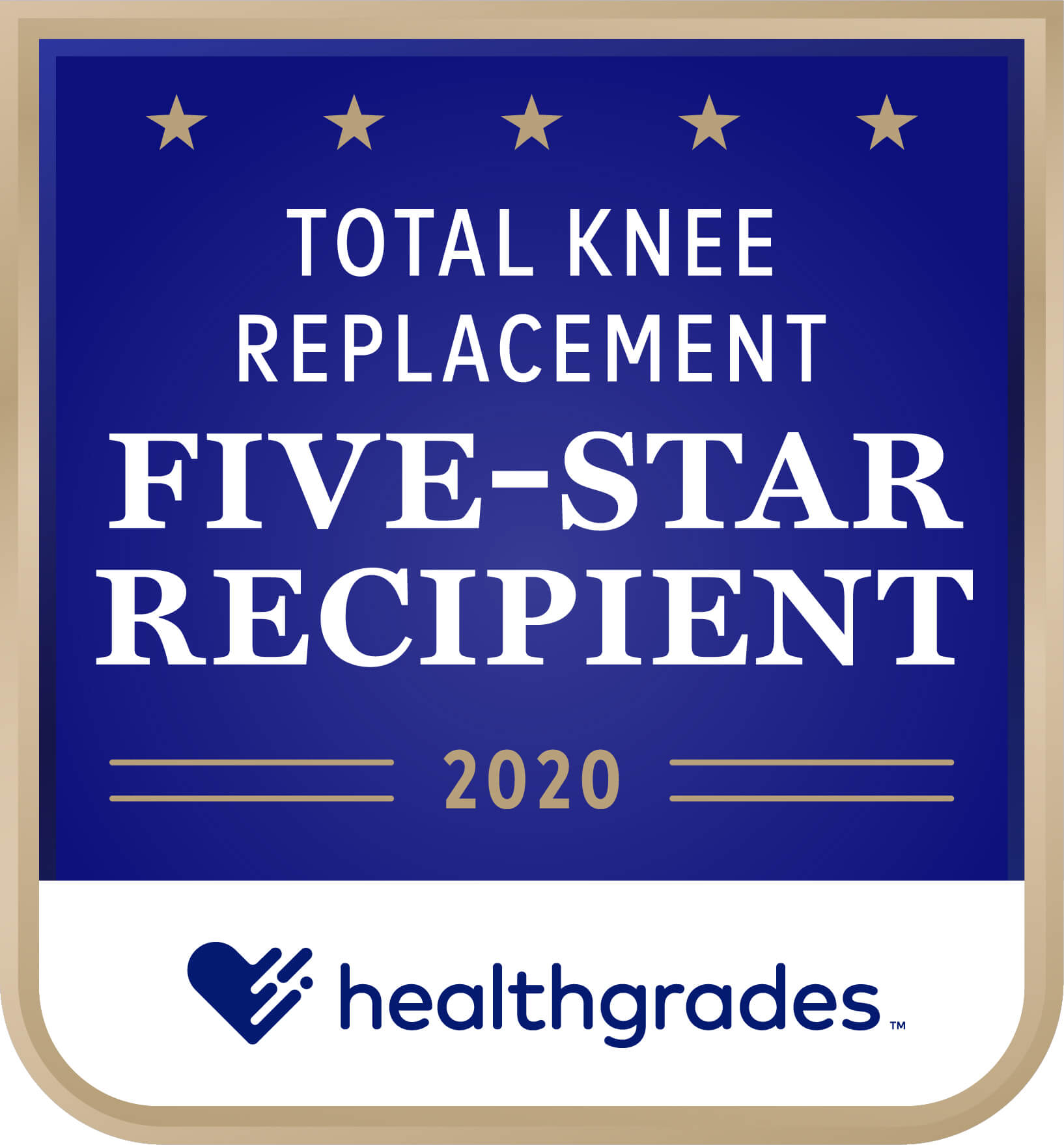 Healthgrades Five-Star Recipient for Total Knee Replacement Award 2020